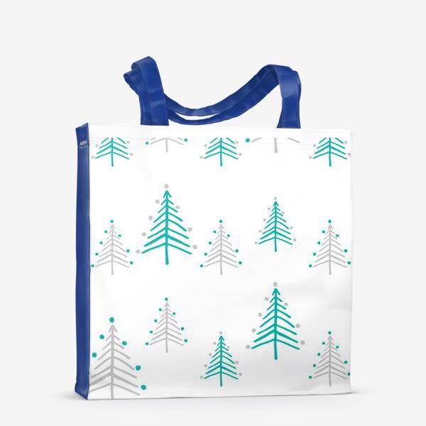 Сумка-шоппер «Новогодний паттерн, минималистичные ёлочки»