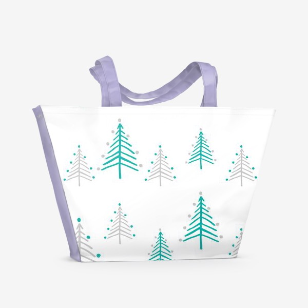Пляжная сумка «Новогодний паттерн, минималистичные ёлочки»