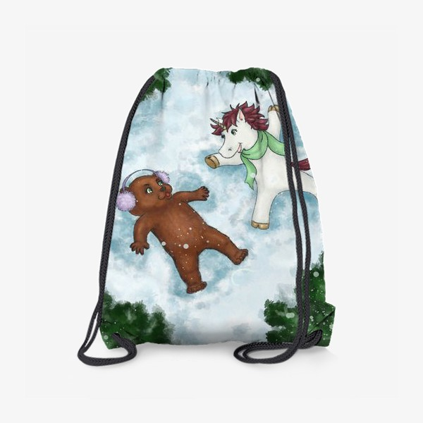 Рюкзак «Единорог и медвежонок делают снежных ангелов»