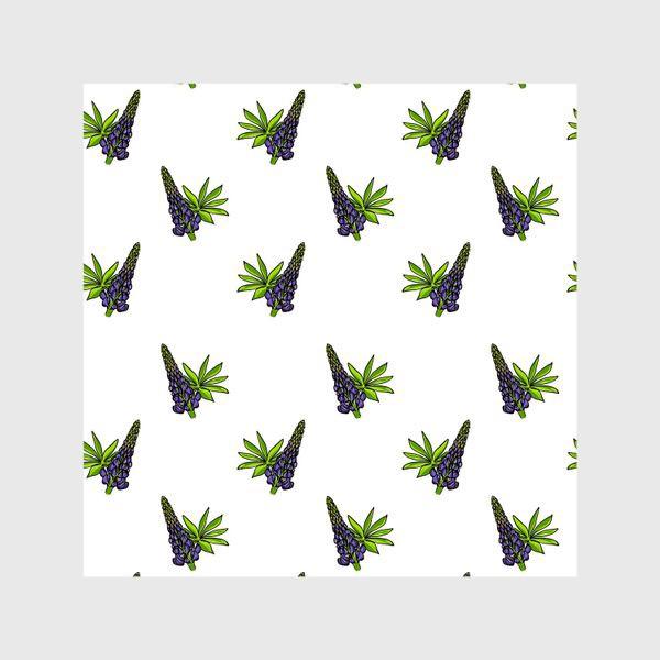 Шторы «Цветочный орнамент из синих люпинов и зеленых листьев на белом фоне»