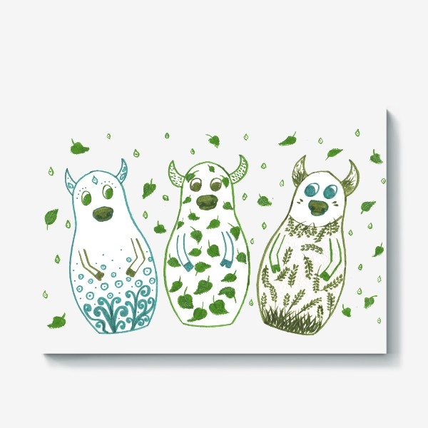 Холст «Быки - матрёшки. Весна»