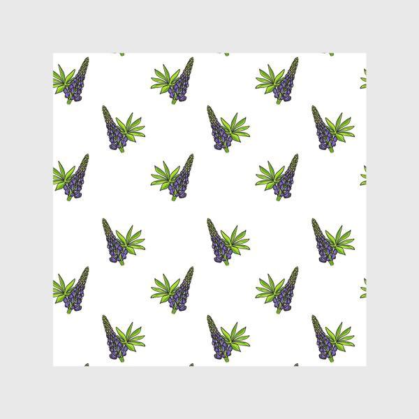 Скатерть «Цветочный орнамент из синих люпинов и зеленых листьев на белом фоне»