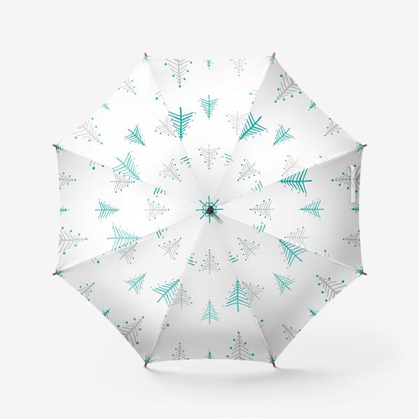 Зонт «Новогодний паттерн, минималистичные ёлочки»