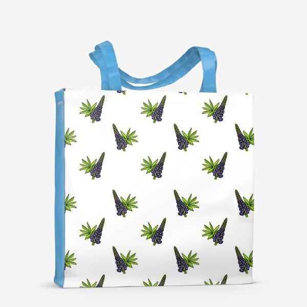 Сумка-шоппер «Цветочный орнамент из синих люпинов и зеленых листьев на белом фоне»
