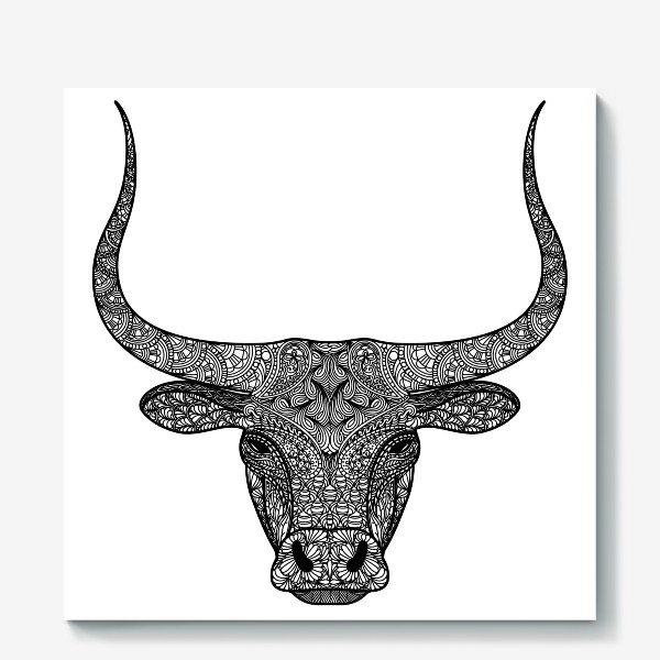 Холст «Бык длиннорогий. Голова быка с узором в стиле зенарт или дудлинг. Черно-белый принт.»