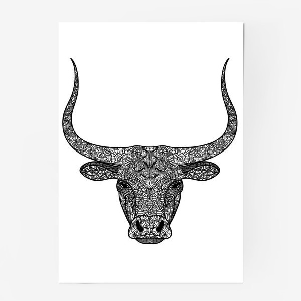 Постер «Бык длиннорогий. Голова быка с узором в стиле зенарт или дудлинг. Черно-белый принт.»