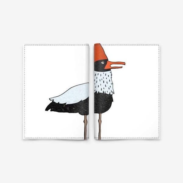 Обложка для паспорта «Чайка в колпаке на белом фоне. »