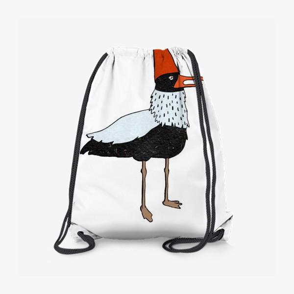 Рюкзак «Чайка в колпаке на белом фоне. »