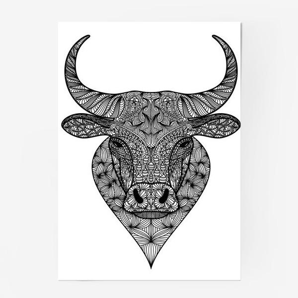Постер «Узорчатая голова быка. Рисунок быка с этническим орнаментом. Серьезное, брутальное, невозмутимое выражение лица»