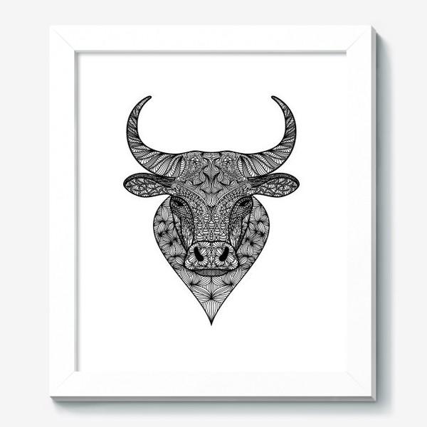 Картина «Узорчатая голова быка. Рисунок быка с этническим орнаментом. Серьезное, брутальное, невозмутимое выражение лица»