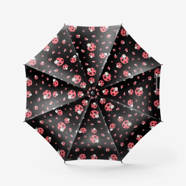 Зонт «Божьи коровки и бычки (черный)»