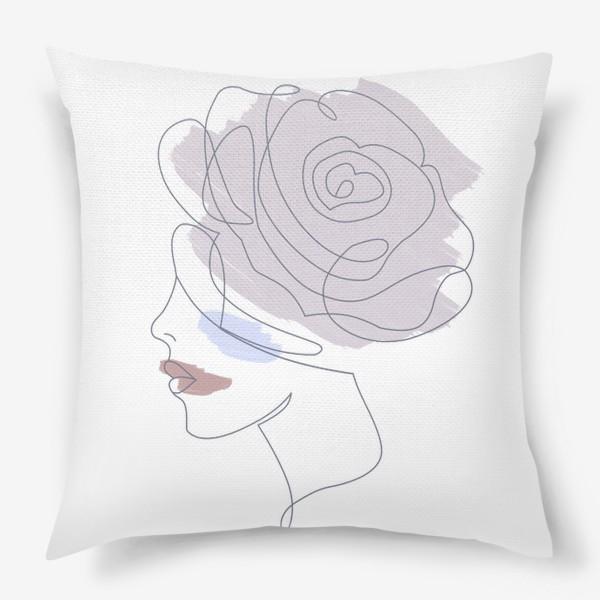 Подушка «Девушка роза 2. Непрерывная линия»