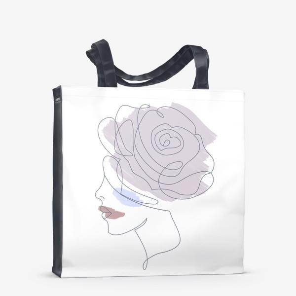 Сумка-шоппер «Девушка роза 2. Непрерывная линия»
