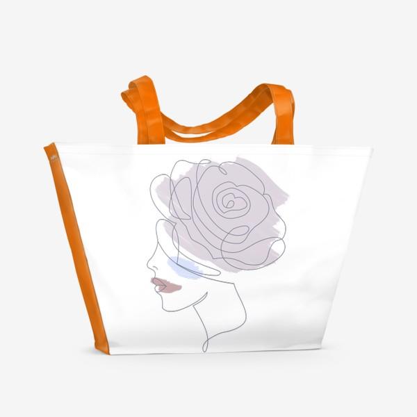 Пляжная сумка «Девушка роза 2. Непрерывная линия»