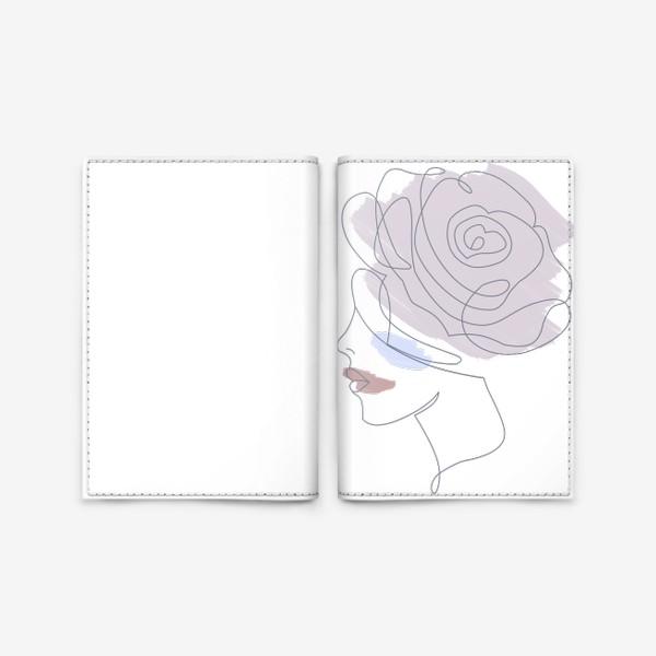 Обложка для паспорта «Девушка роза 2. Непрерывная линия»