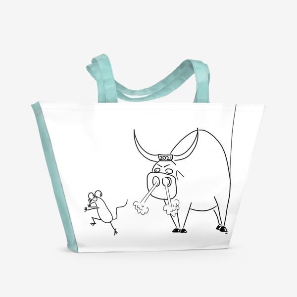 Пляжная сумка «Год быка 2021! Новый год»