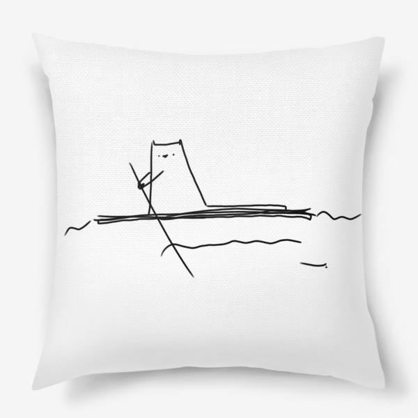 Подушка «Кот на маленьком плоту »