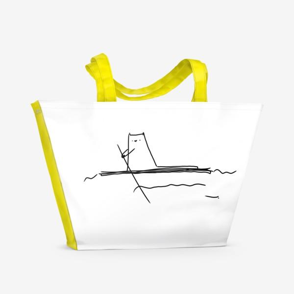 Пляжная сумка «Кот на маленьком плоту »