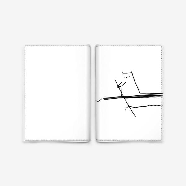 Обложка для паспорта «Кот на маленьком плоту »