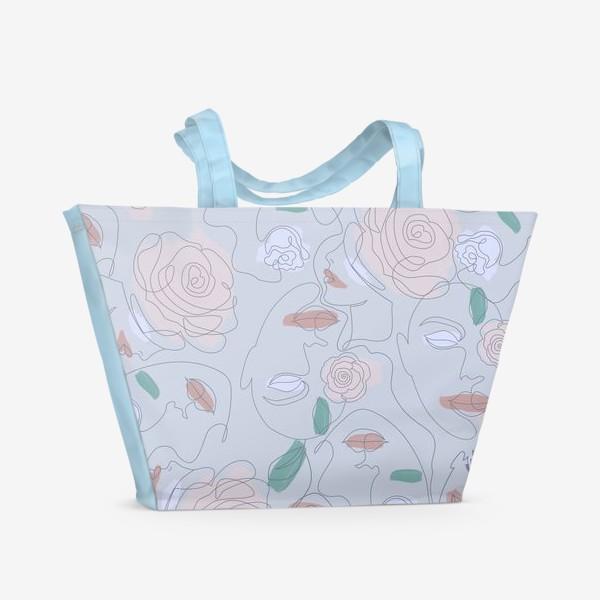 Пляжная сумка «Рисунок одной линией паттерн»