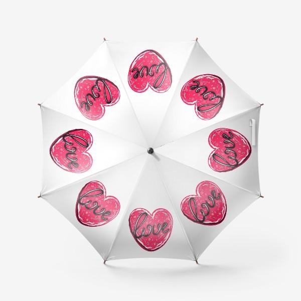 Зонт «Сладкое сердце с надписью любовь.  Имбирное печенье или кексик на День Святого Валентина»