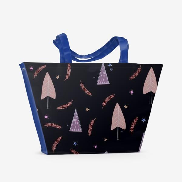 Пляжная сумка «новогодние ёлки»