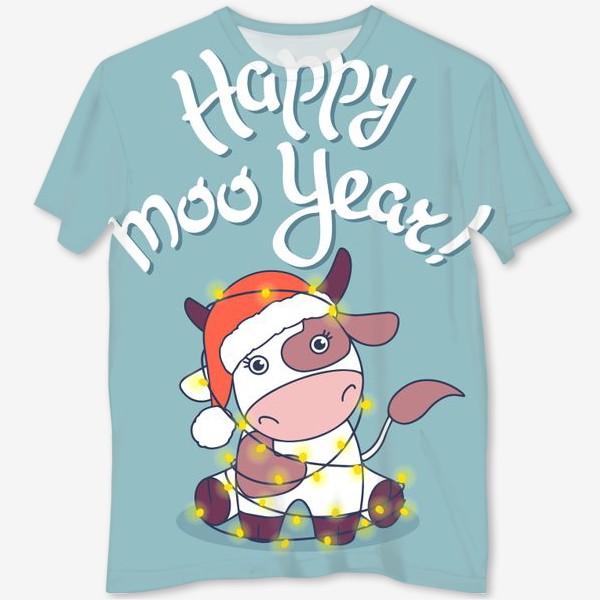 Футболка с полной запечаткой «happy moo year»