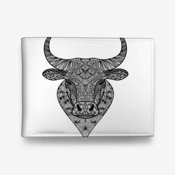 Кошелек «Узорчатая голова быка. Рисунок быка с этническим орнаментом. Серьезное, брутальное, невозмутимое выражение лица»