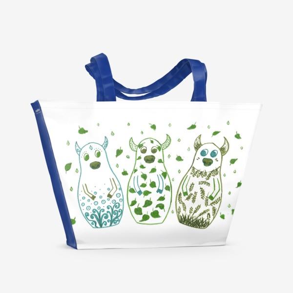 Пляжная сумка «Быки - матрёшки. Весна»