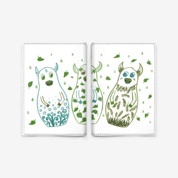 Обложка для паспорта «Быки - матрёшки. Весна»