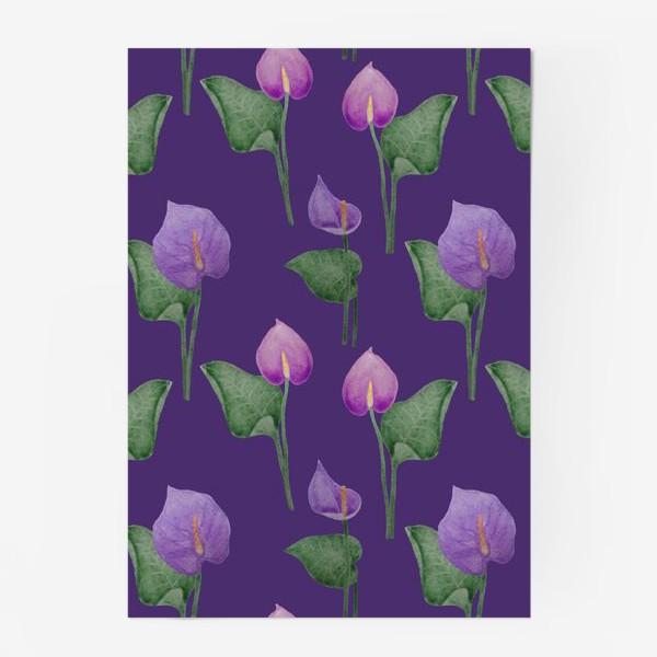 Постер «Антуриумы на фиолетовом фоне»