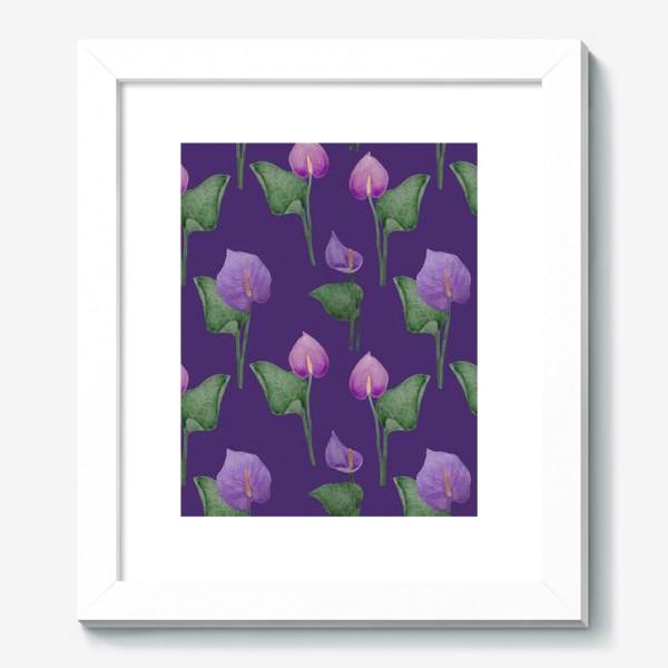 Картина «Антуриумы на фиолетовом фоне»