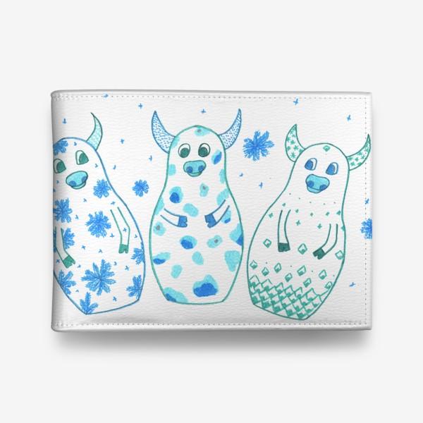 Кошелек «Быки - матрёшки. Зима»