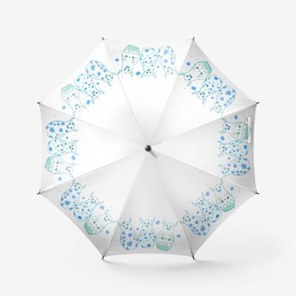 Зонт «Быки - матрёшки. Зима»