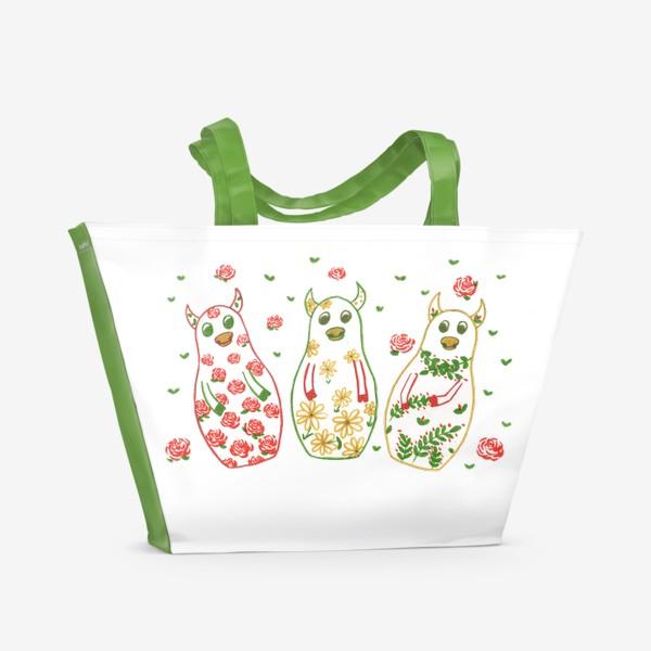 Пляжная сумка «Быки - матрёшки. Лето»
