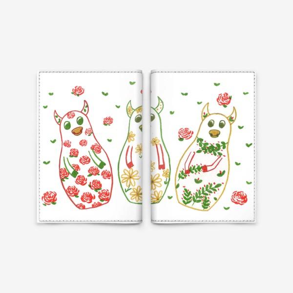 Обложка для паспорта «Быки - матрёшки. Лето»