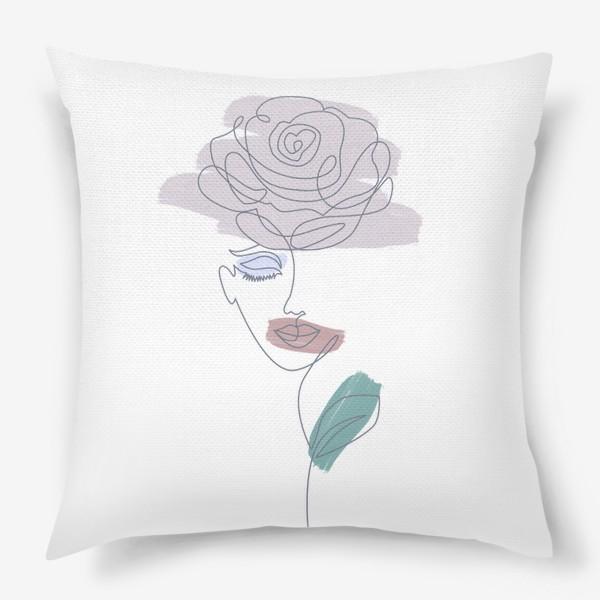 Подушка «Девушка роза. Непрерывная линия»