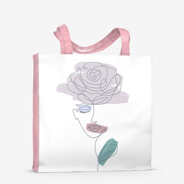 Сумка-шоппер «Девушка роза. Непрерывная линия»