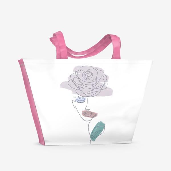 Пляжная сумка «Девушка роза. Непрерывная линия»