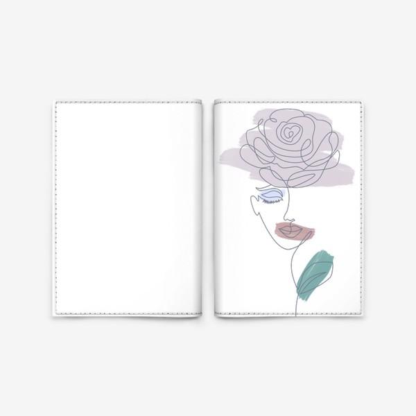 Обложка для паспорта «Девушка роза. Непрерывная линия»