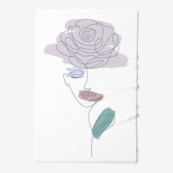 Полотенце «Девушка роза. Непрерывная линия»