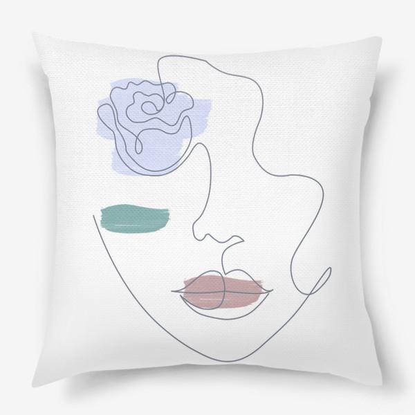 Подушка «Девушка роза 3. Непрерывная линия»