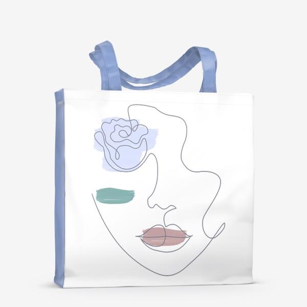 Сумка-шоппер «Девушка роза 3. Непрерывная линия»