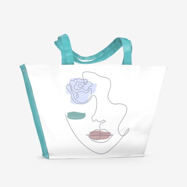 Пляжная сумка «Девушка роза 3. Непрерывная линия»
