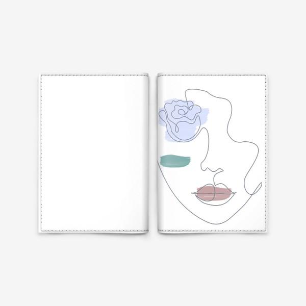 Обложка для паспорта «Девушка роза 3. Непрерывная линия»