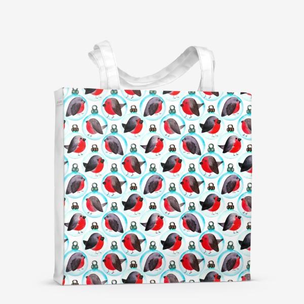 Сумка-шоппер «Паттерн ёлочные шары со снегирями»