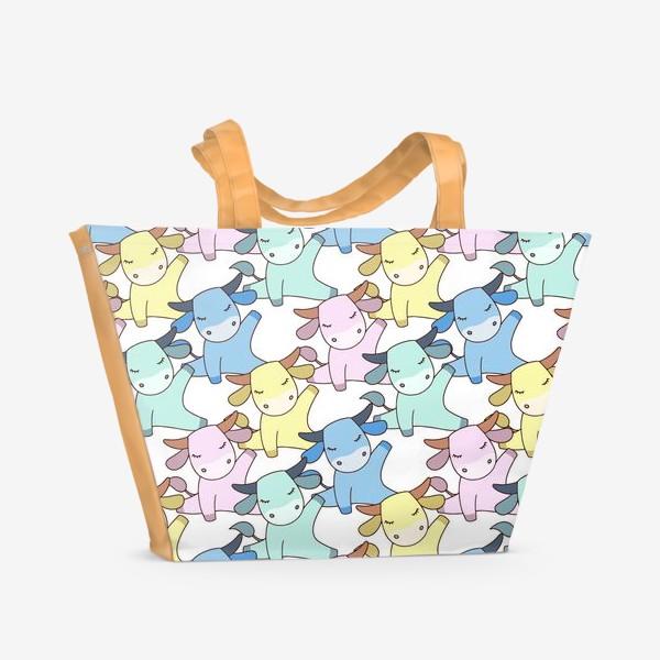 Пляжная сумка «Йога бычок»