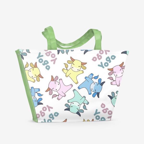 Пляжная сумка «Йога бык»