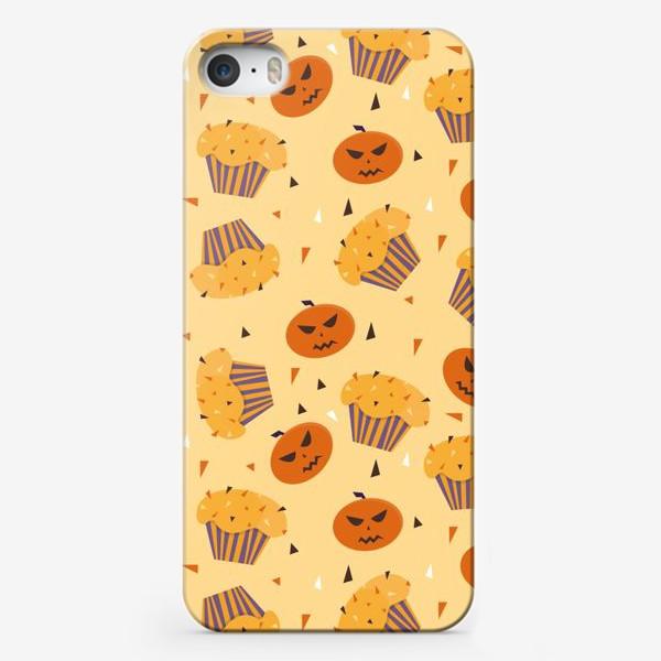 Чехол iPhone «Капкейки на Хэллоуин на оранжевом»