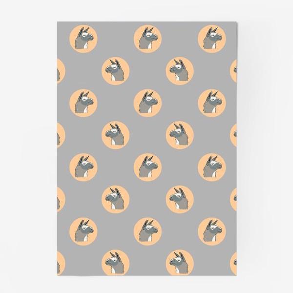 Постер «Милый орнамент с мордами ламы. Серая альпака в круге на темном фоне»